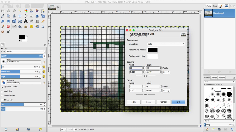 GIMP. Configure the grid