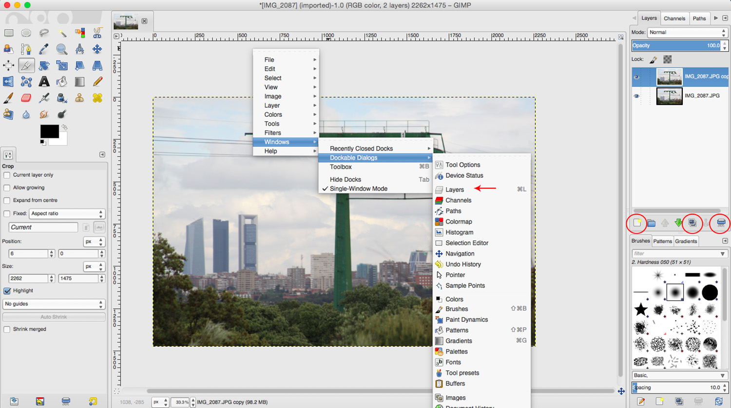 Standard photo retouching. Create and manage layers
