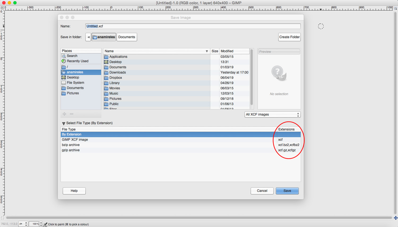 Introduction to GIMP. Save files