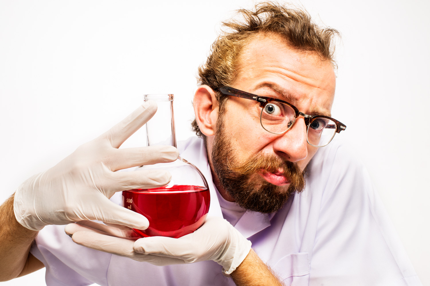 21 tips for Stock Photography Crazy Scientist with Red Liquid