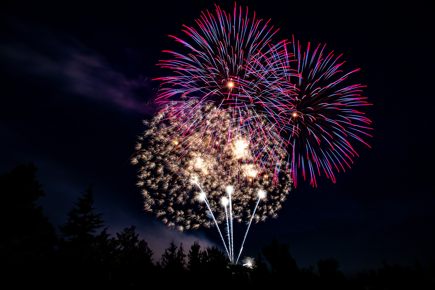 Image: The first few fireworks of the show will be in clearer sky conditions. As the show continues,...