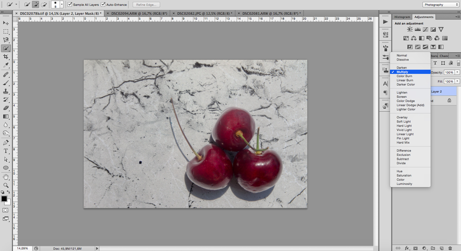 Use blending modes to incorporate the background and make it more realistic