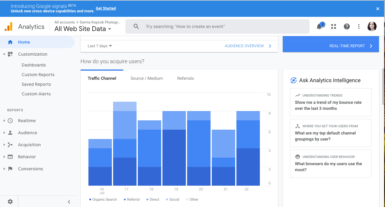 Image: A screenshot of a Google Analytics Dashboard. Analytics is great for monitoring visitor traff...
