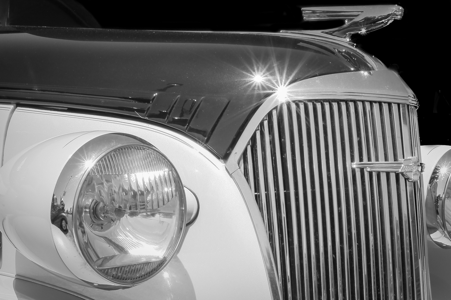 black and white old car