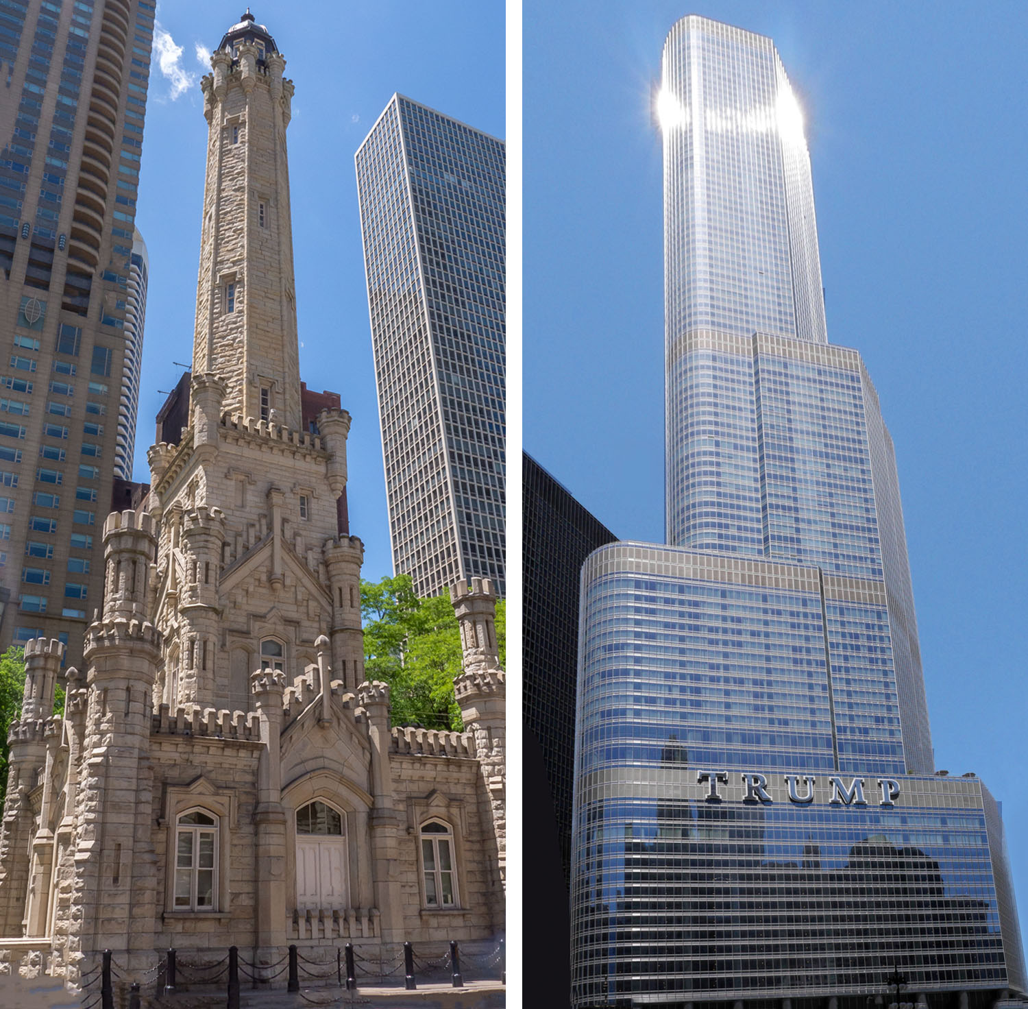 Image: The 19th century stone structure of the Chicago Water Tower stands in contrast to the gleamin...