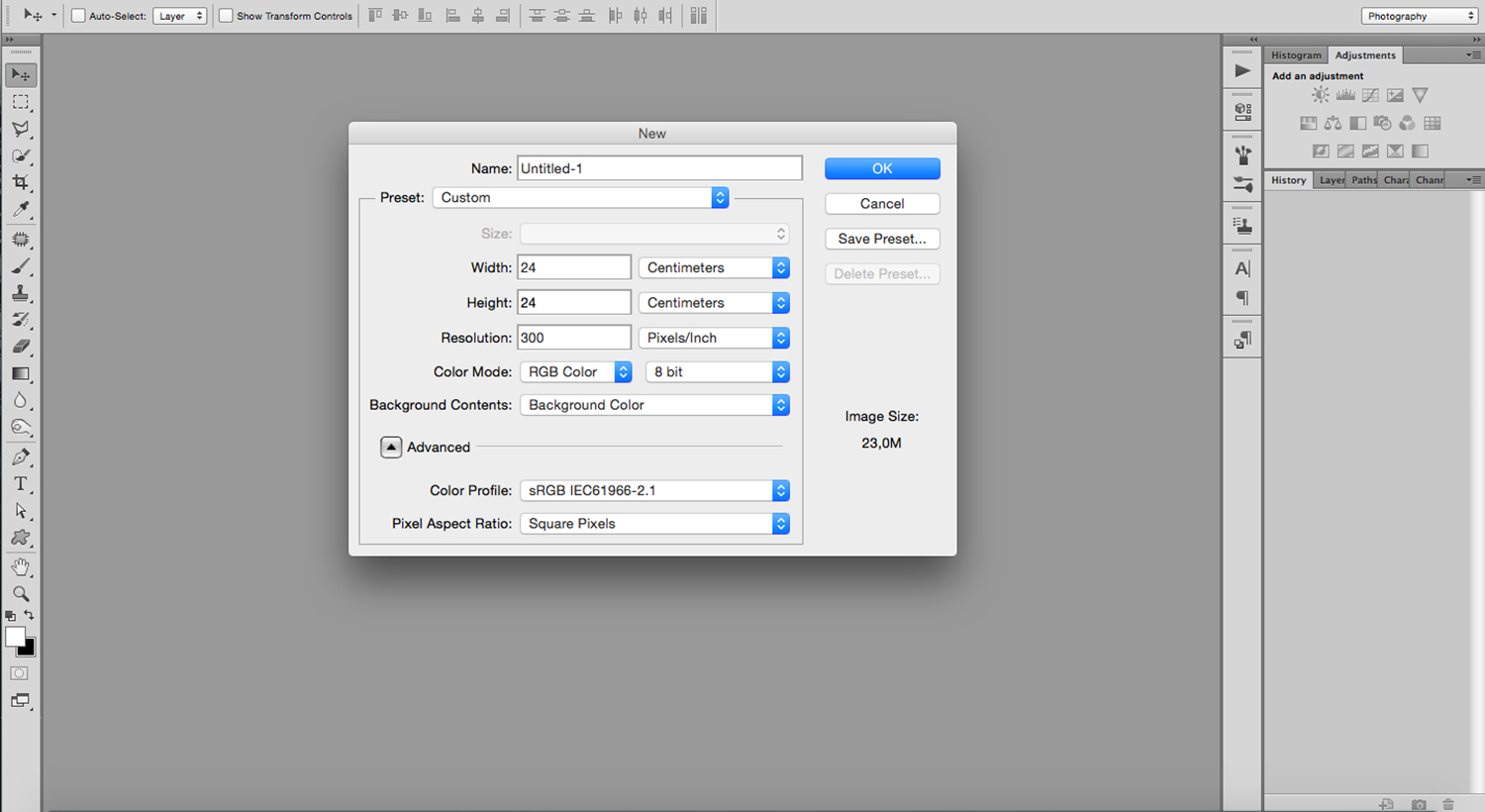 Open a new document in Photoshop