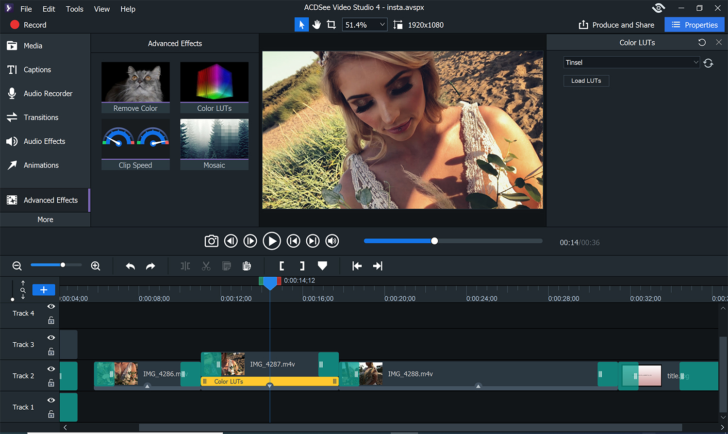 Image: You can add LUTS to color your footage. Start with a preset or upload your own. For the short...