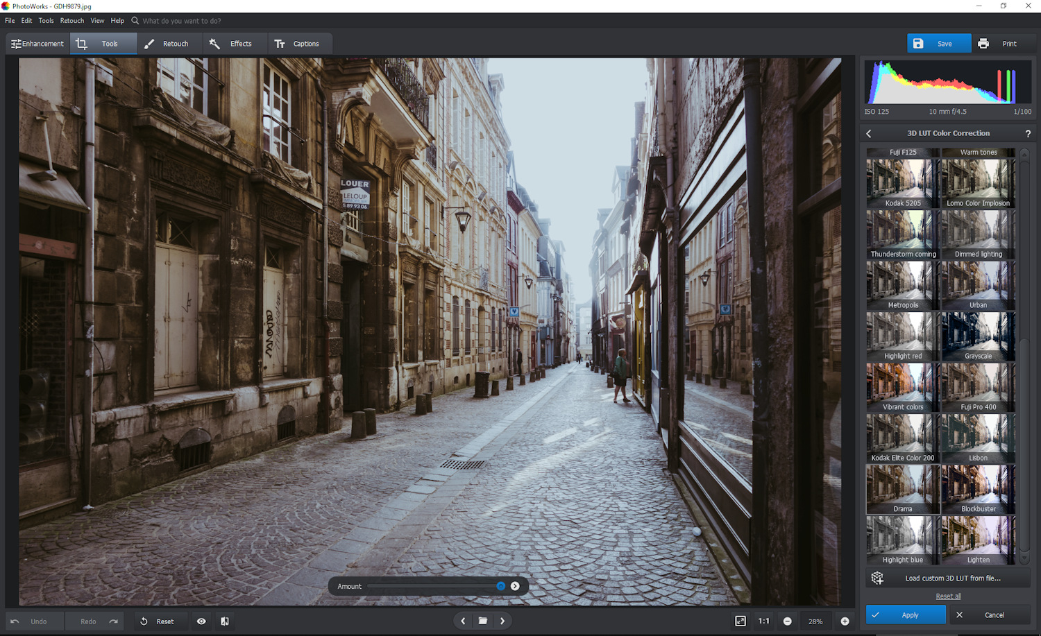 PhotoWorks review - color LUTs