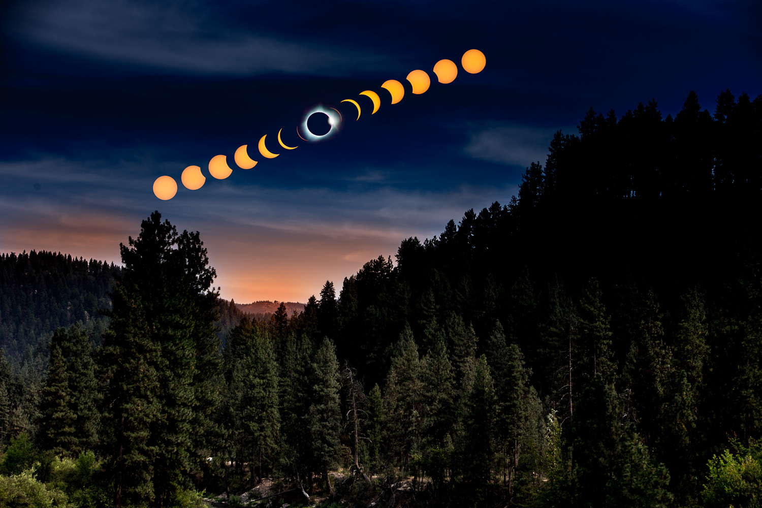 Image: Experiencing the 8/21/17 total eclipse was amazing. I used creative photo compositing to sequ...