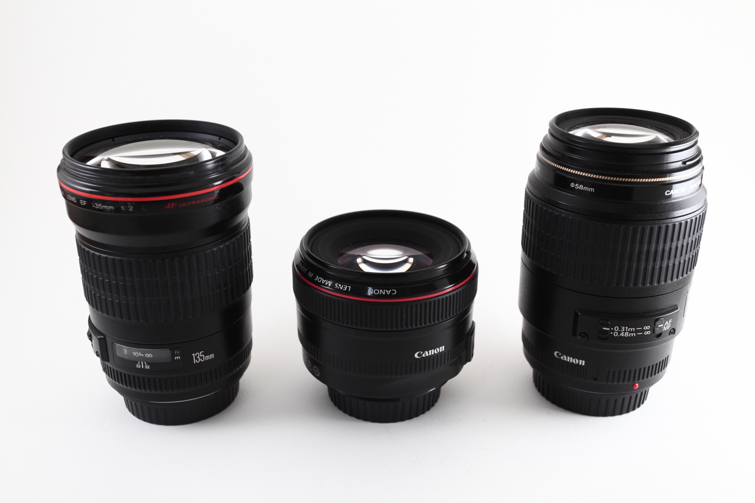 Image: Prime lens are of fixed focal length. Here you can see a 135mm, a 50mm and a 100mm lens. The...