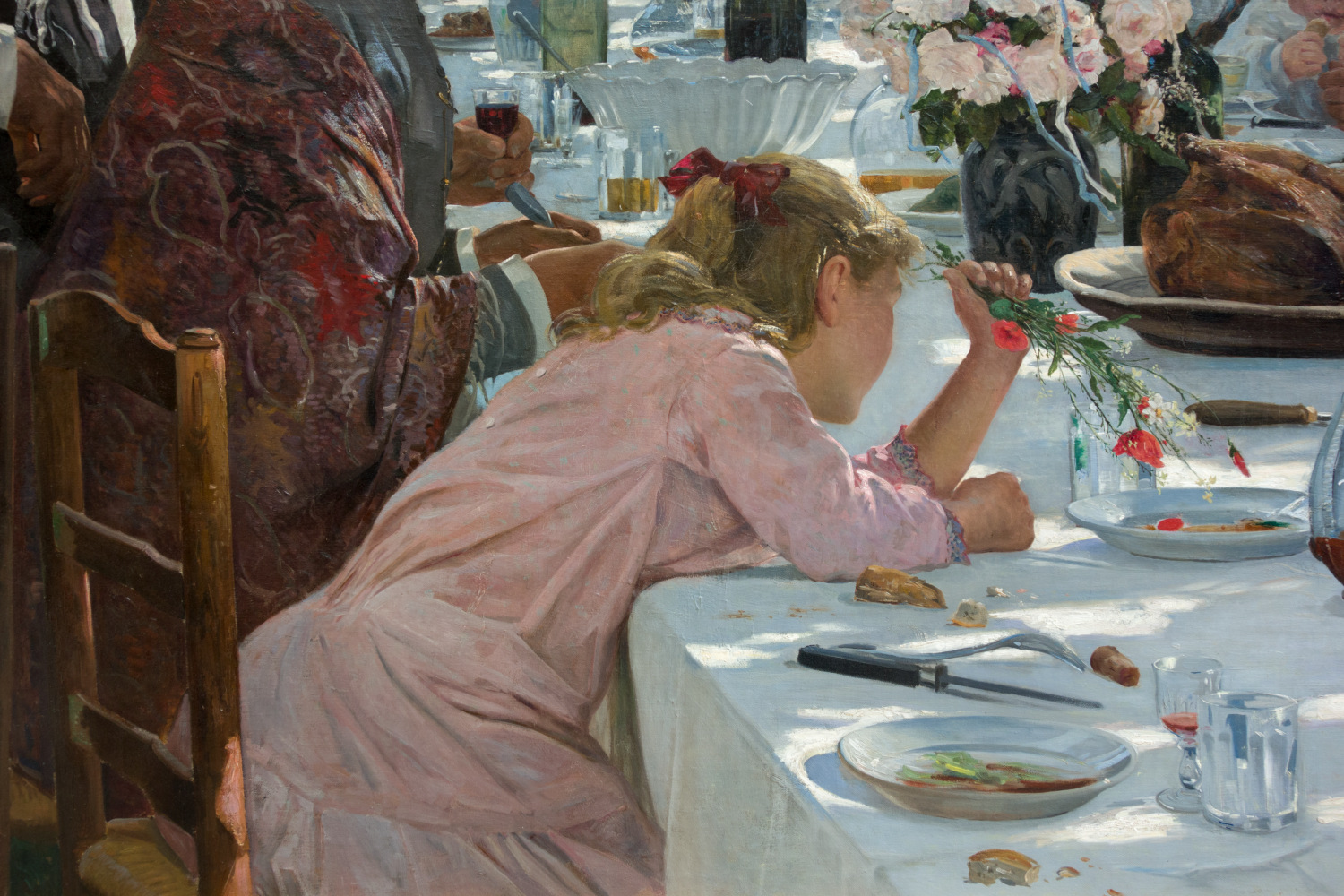 Image: Within larger paintings, you'll see delightful details. Here, a young girl distracts he...