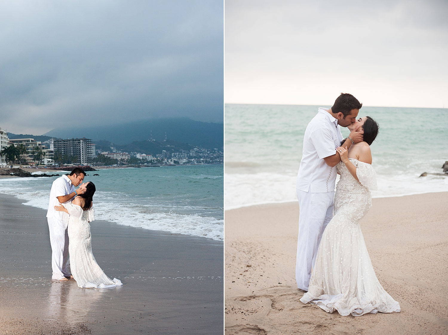 Image: In the photo on the left, I used one flash off-camera to camera right near the couple. On the...