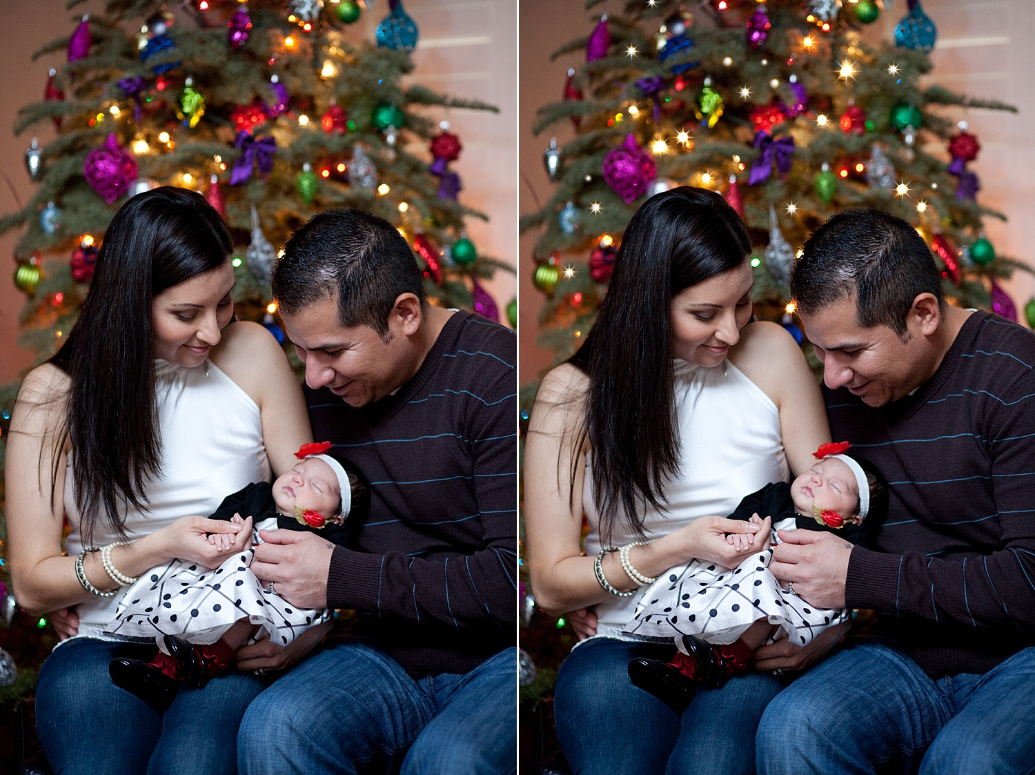 Image: Before and after on another photo. This is more subtle and only uses white twinkle lights.