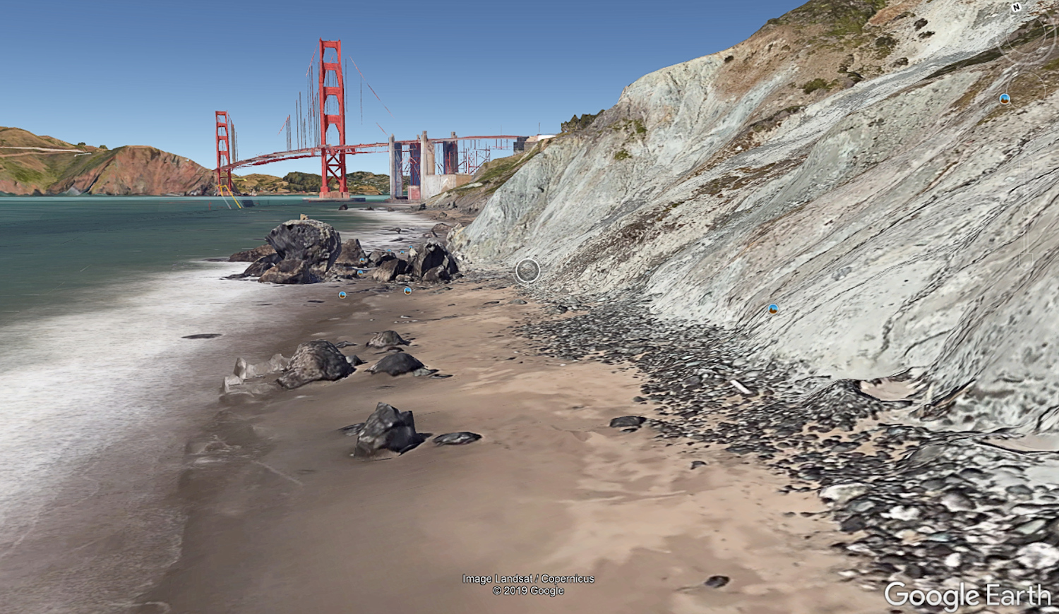 Cyber-scouting for photo locations - Golden Gate Bridge from Marshalls Beach - Google Earth