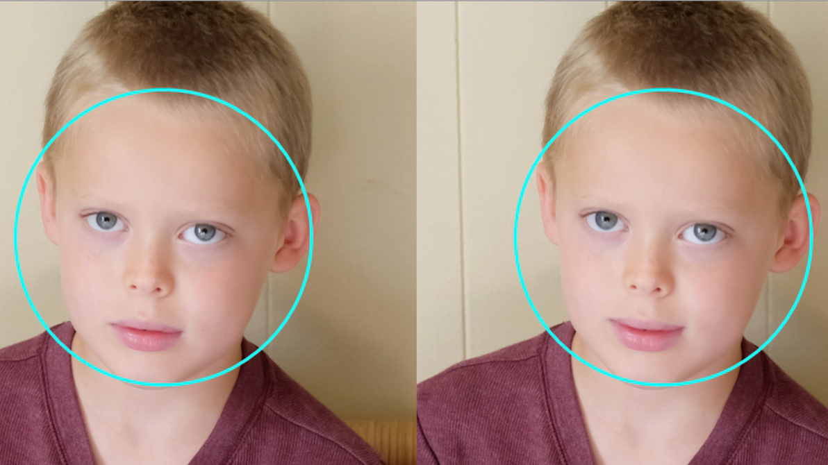 Before and after editing portrait facial features