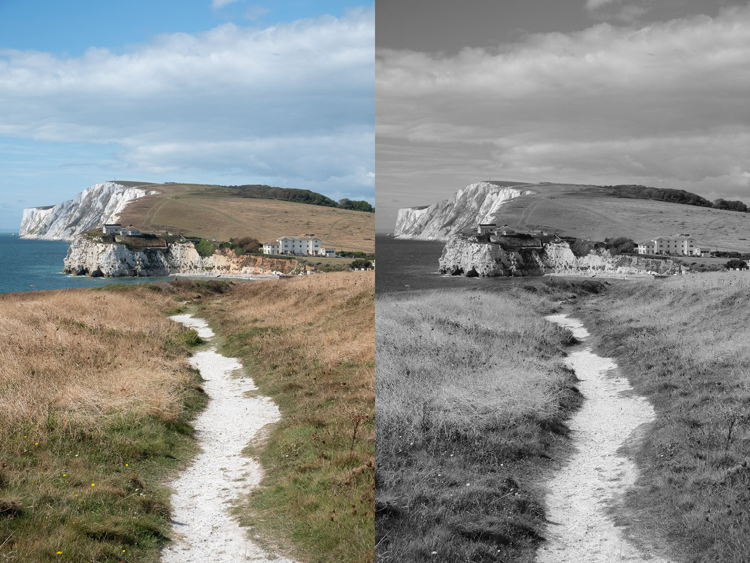 Image: Left: Isle of Wight RAW file. Right: Acros JPG with the red filter. Red filters have long bee...