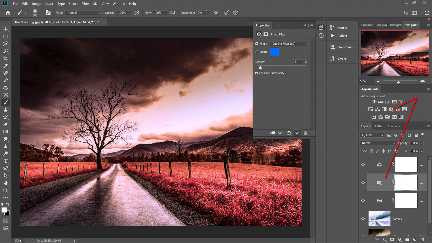 Infrared photography in Photoshop with cooling filter applied