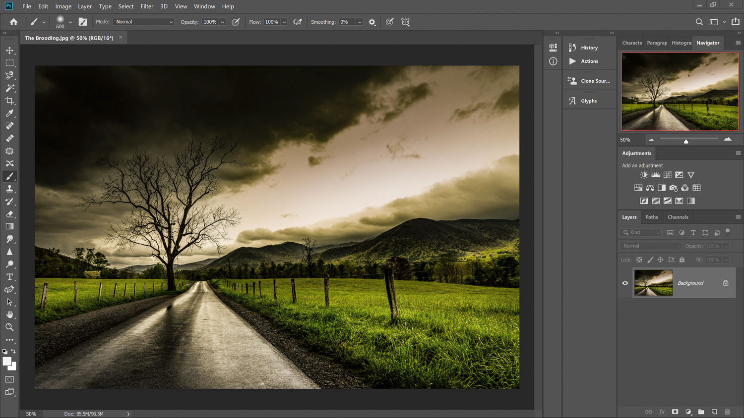 Original photo before Infrared photography in Photoshop