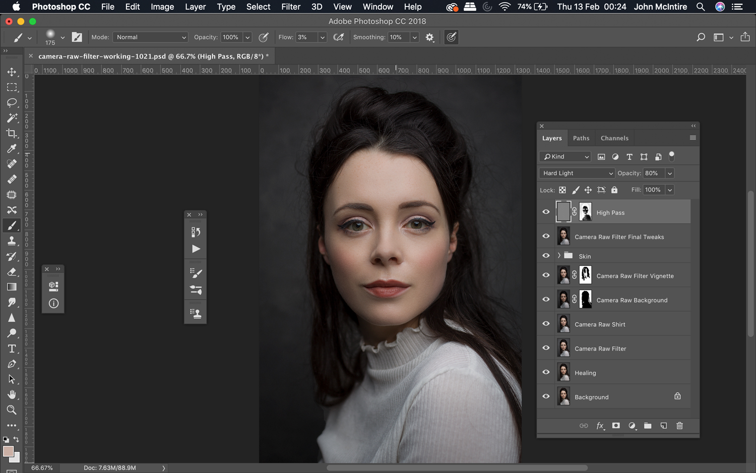 Finishing an image using the Photoshop Camera Raw Filter