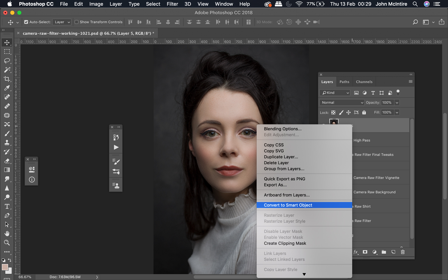 Using the Photoshop Camera Raw Filter as a Smart Object.