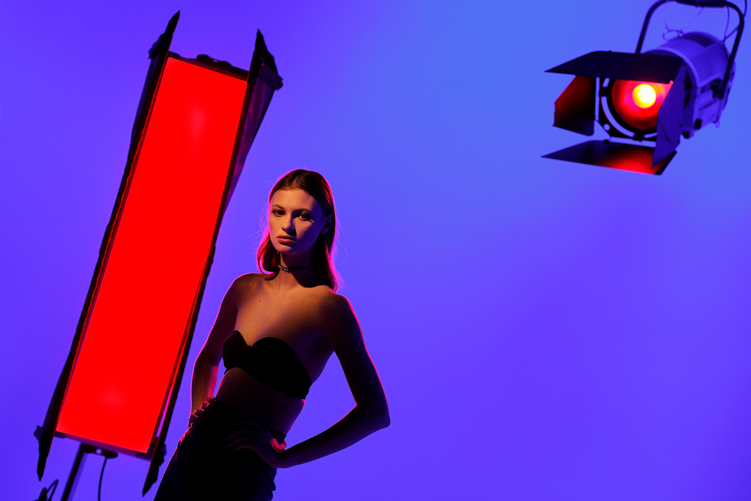 Bruce Dorn Photography, shows a woman against a purple background with red lights