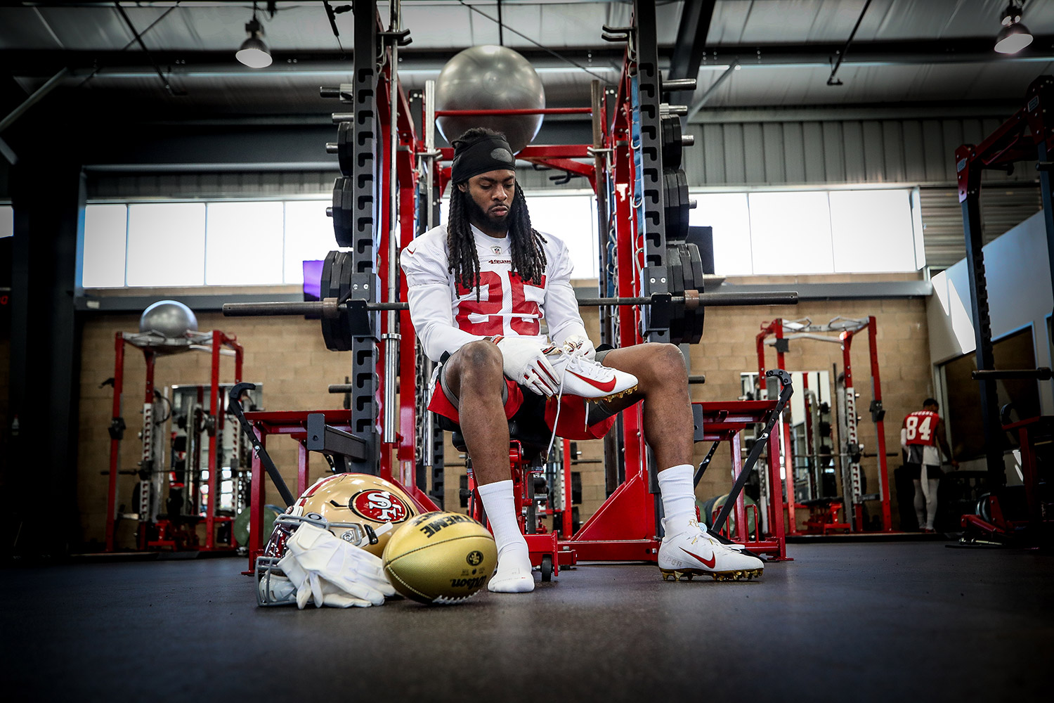 Canon Explorers of Light  – Q&A with Photographer Terrell Lloyd - portrait of a player sitting in a gym