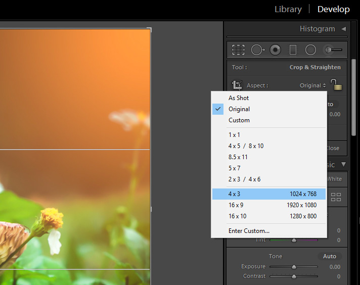 Changing aspect ratio in Adobe Lightroom.