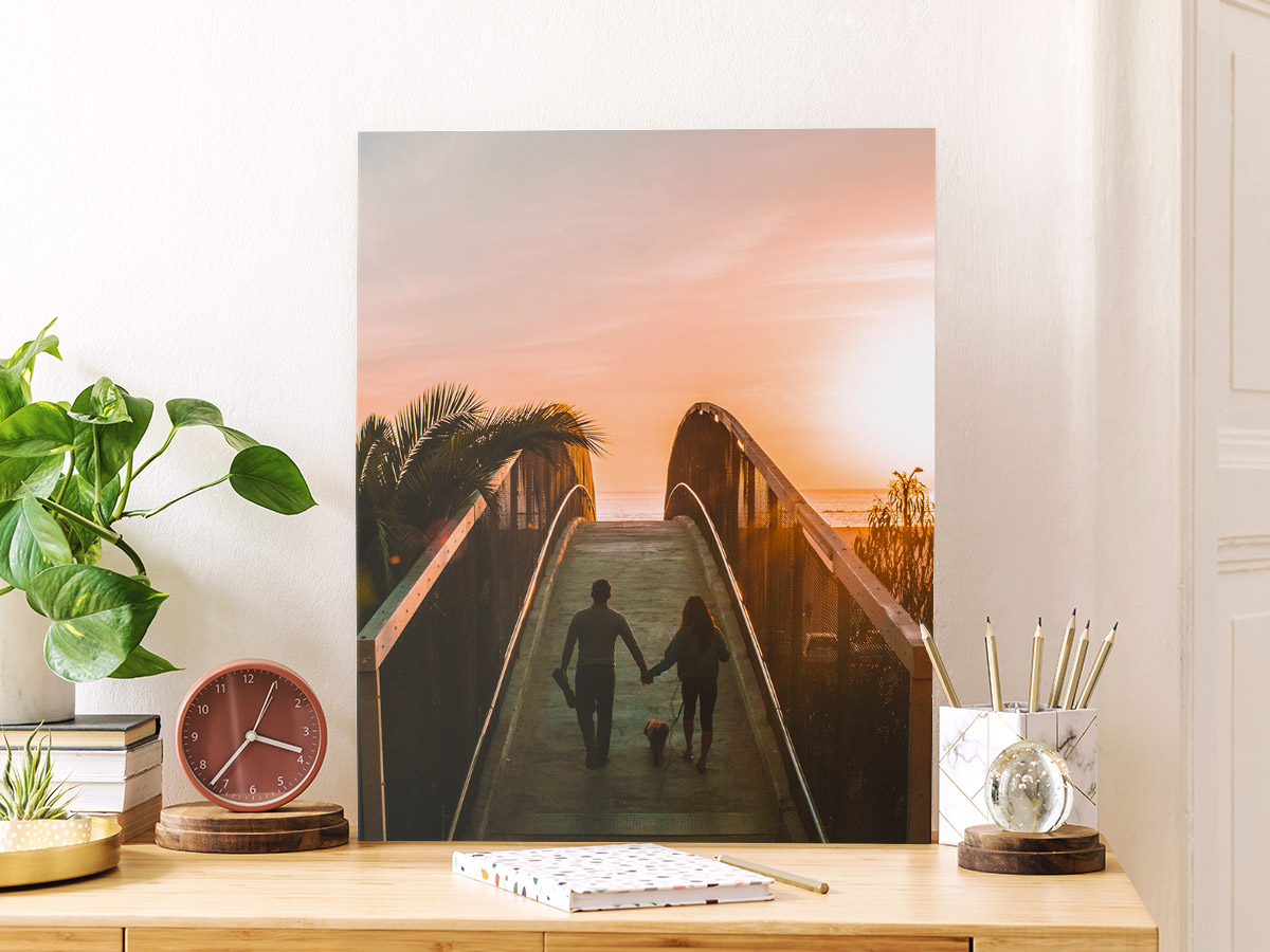 canvas printing tips - printed canvas sitting on a desk.