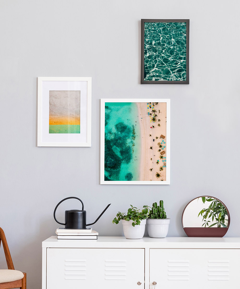 Canvas printing tips – 3 photos with beach scenes framed on a wall