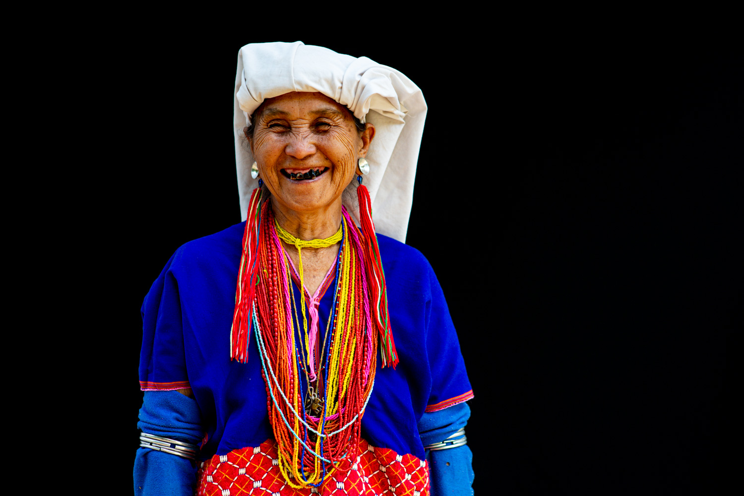 Old Karen woman against a black background for expose your photos
