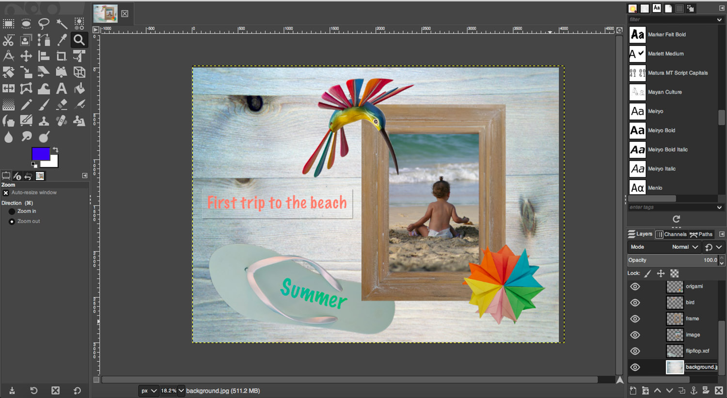 Digital scrapbook summer layout