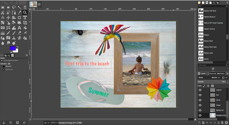 Digital scrapbook summer layout