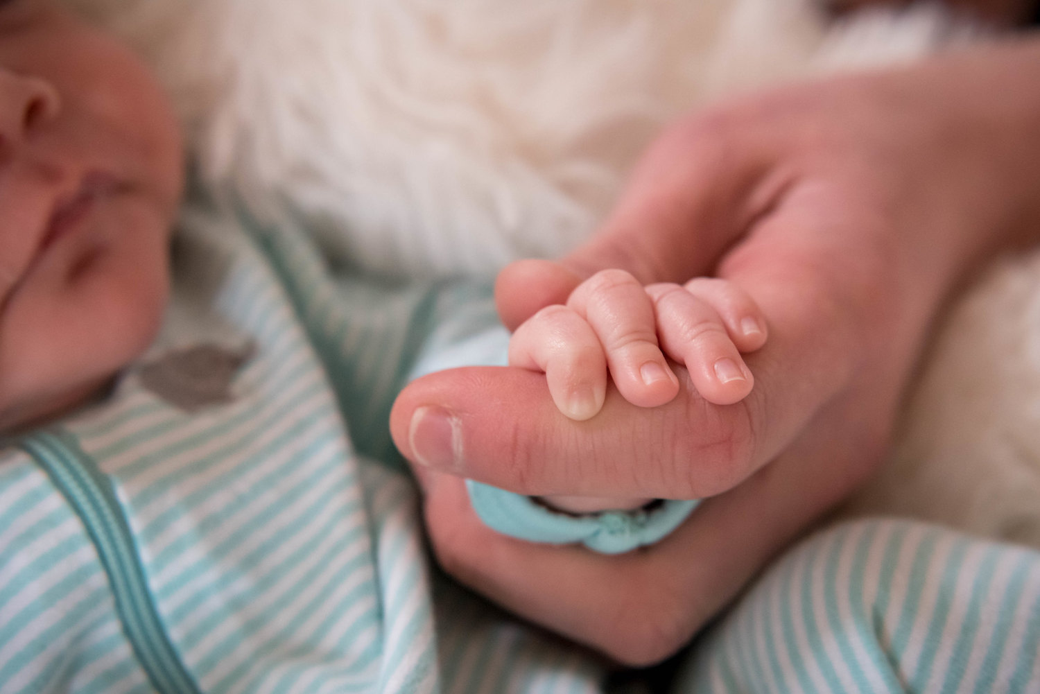 An adult hand embracing a baby's hand