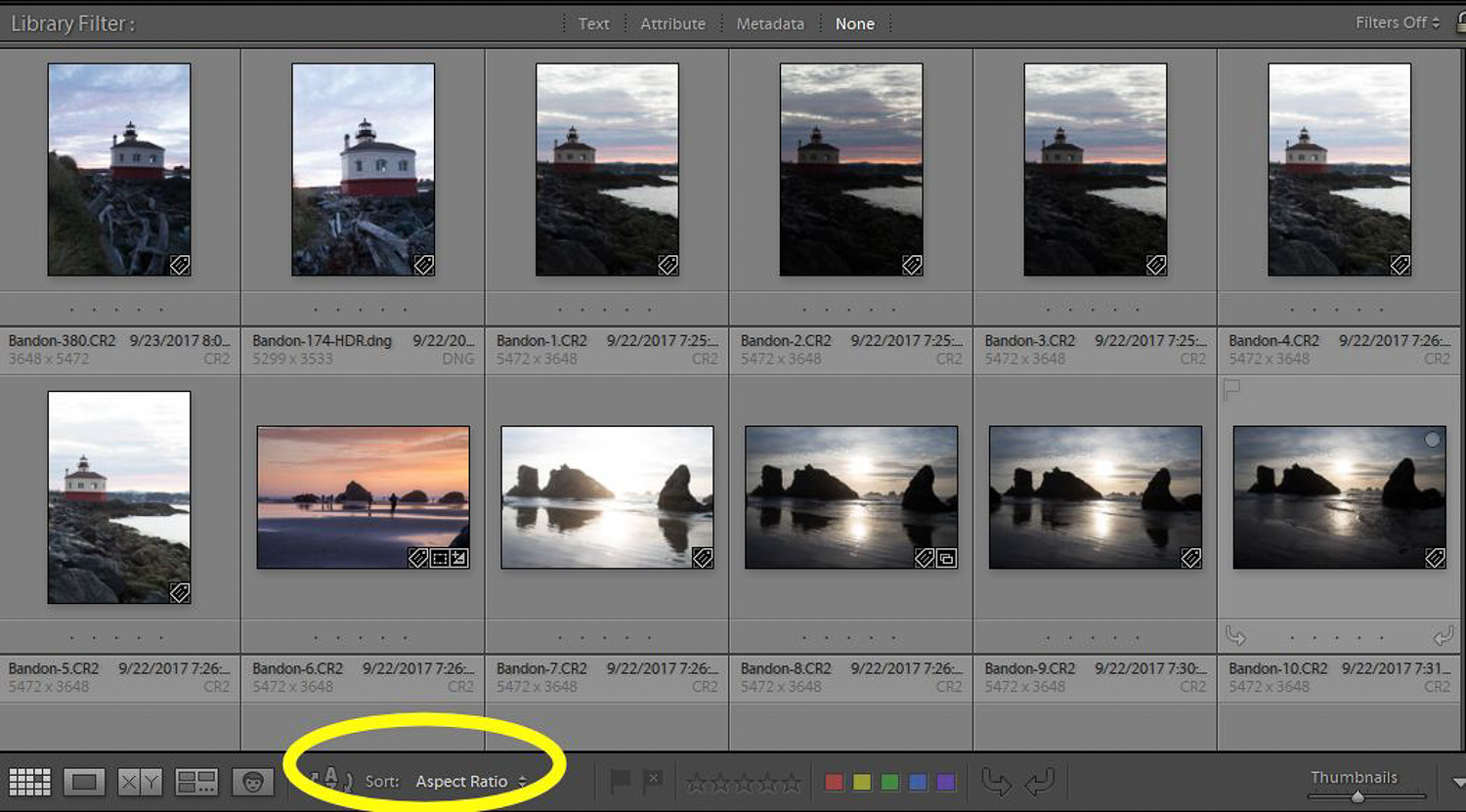 Finding photos with Lightroom - sorting by aspect ratio