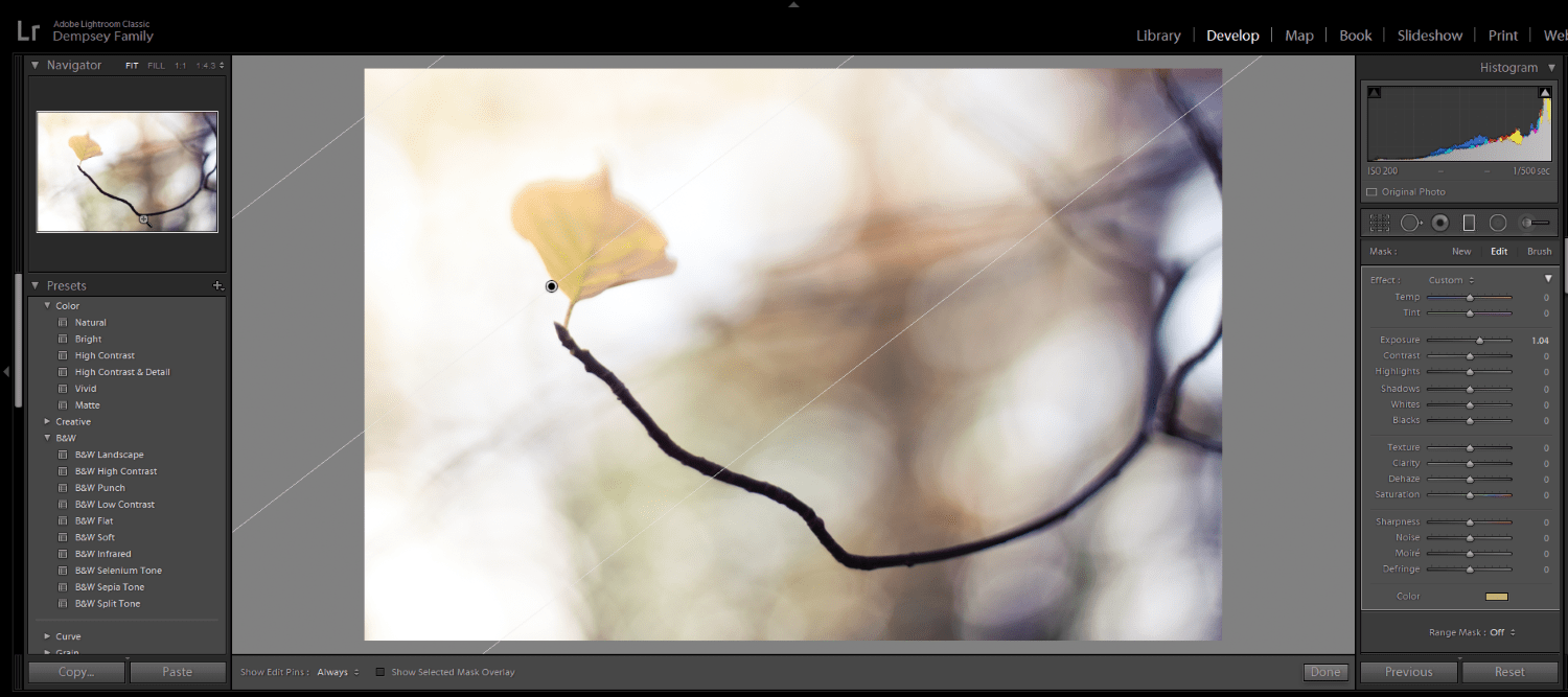 lightroom gradient example - post-processing effects