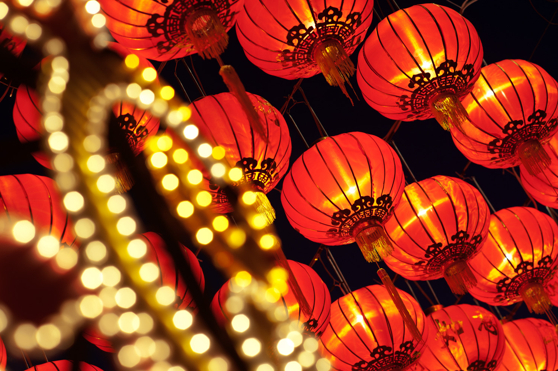 Asian lanterns at night for editing stock photos