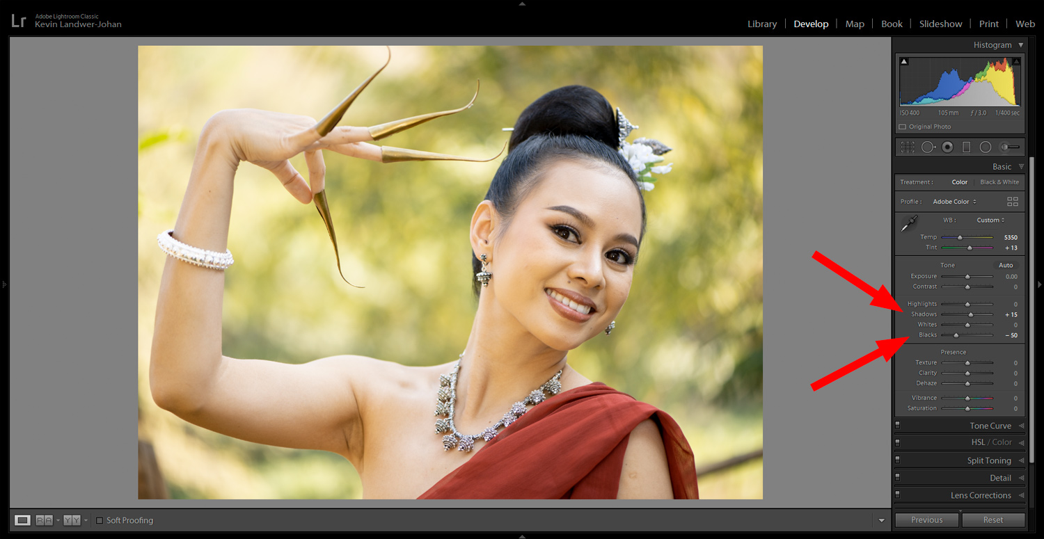 adjust the shadows for article on edit RAW portraits