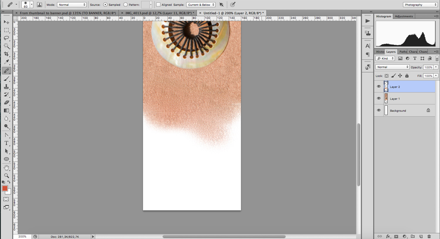 Healing brush is a versatile photoshop tool to edit backgrounds