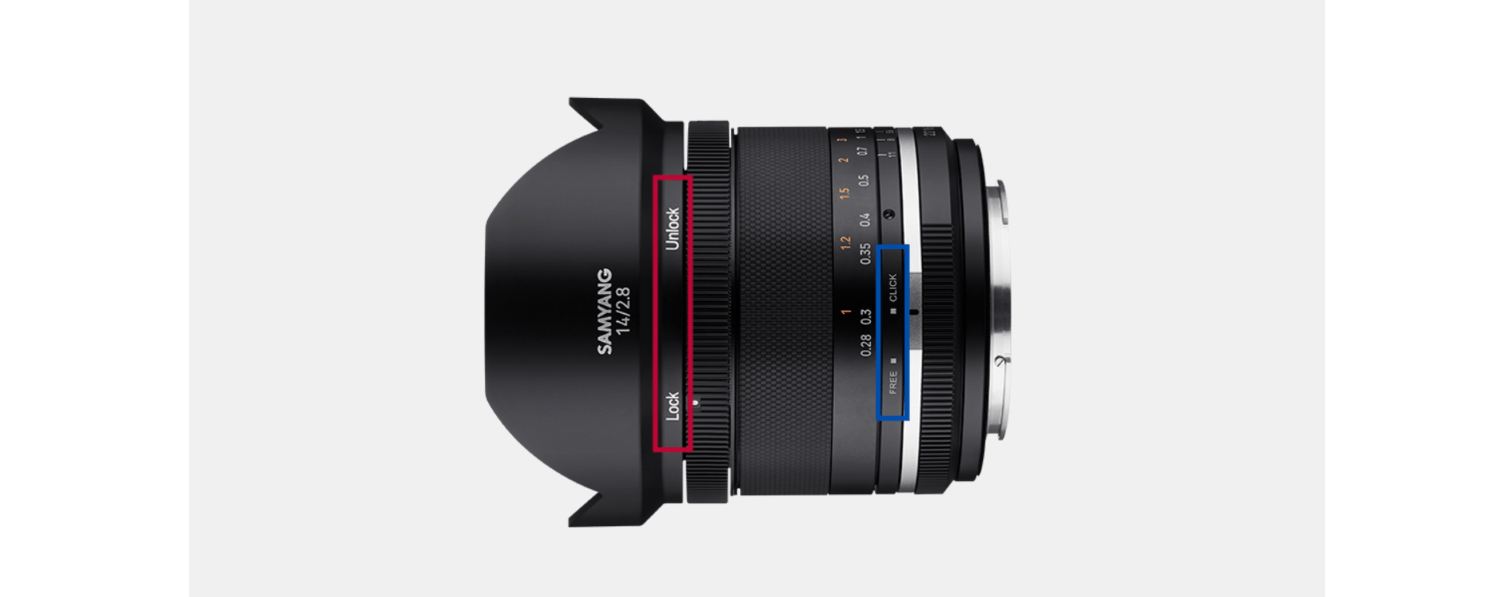 the Samyang 14mm Series II lens offers a de-click and a focus lock function