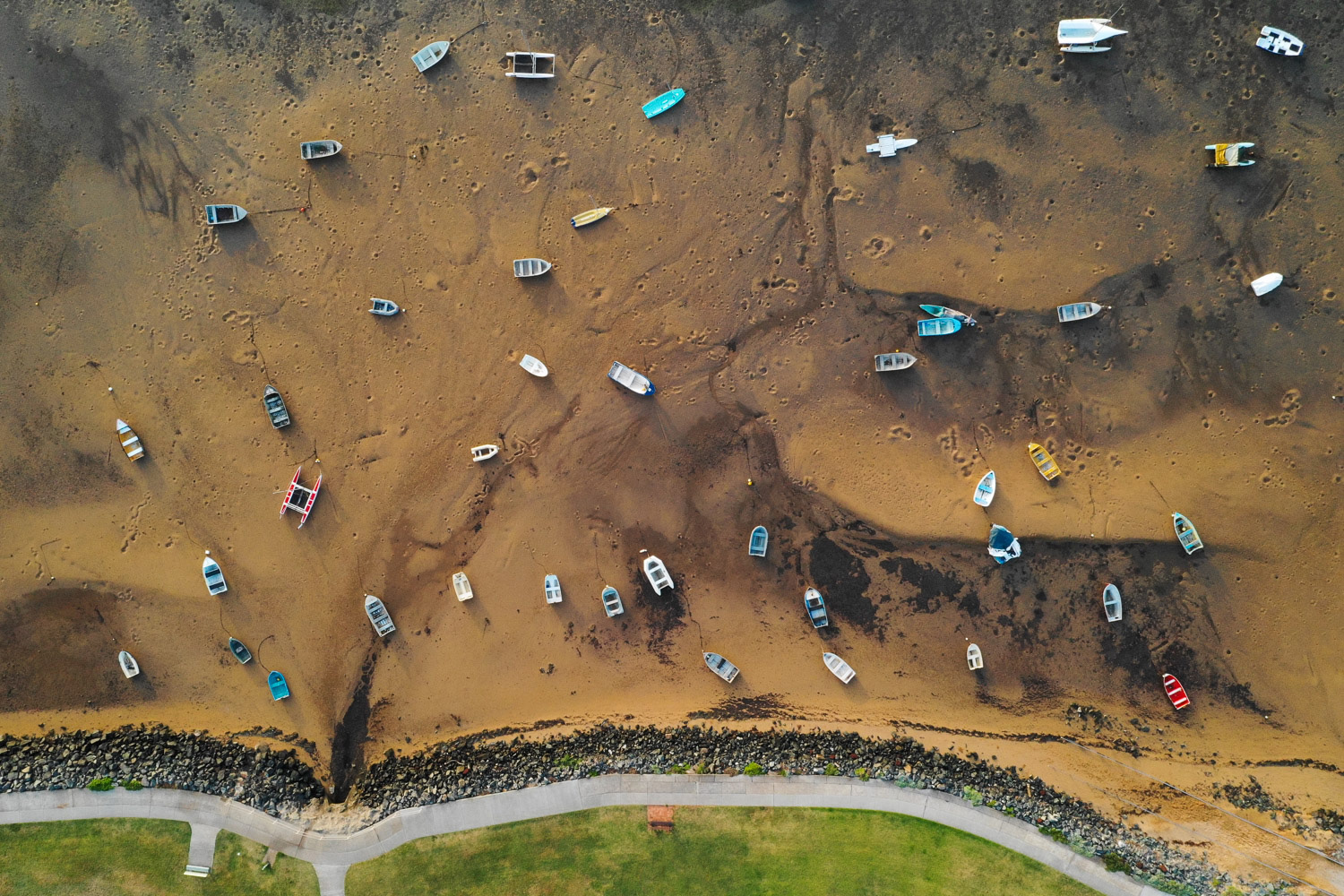 Long overhead shot at low tide on Brisbane's Bayside by Matt Murray - better drone photography