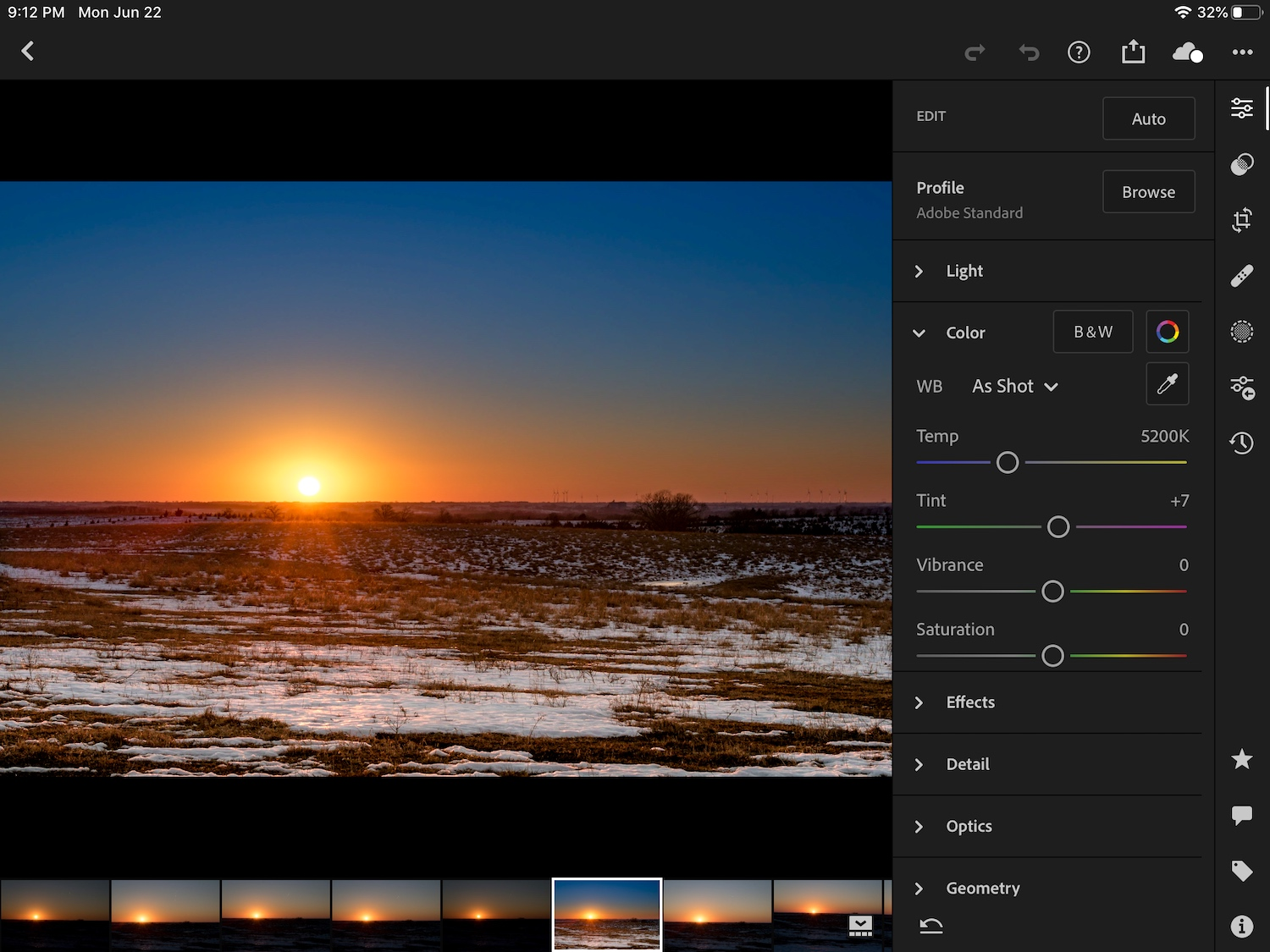 Editing with Lightroom Mobile screenshot iPad