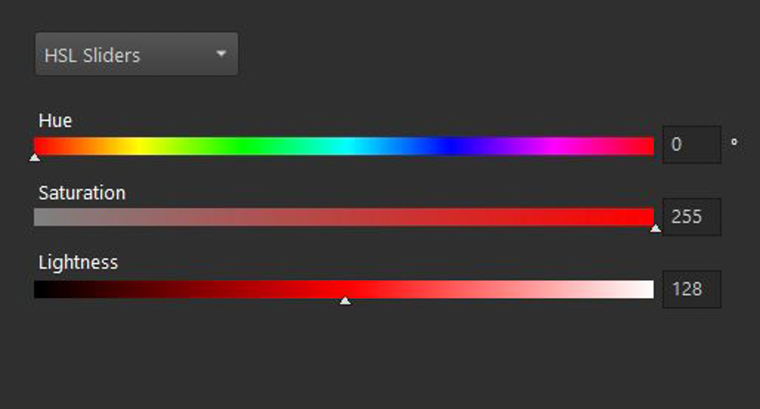 Defining color using the HSL model.