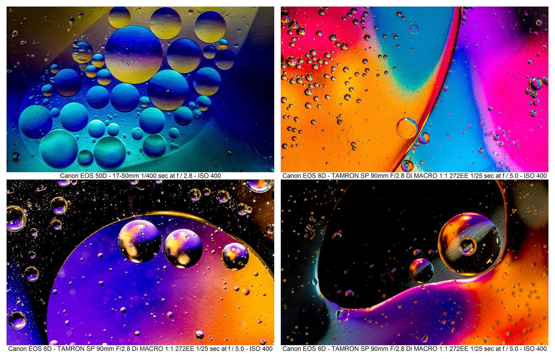 Truques fotográficos: resumos de óleo e água