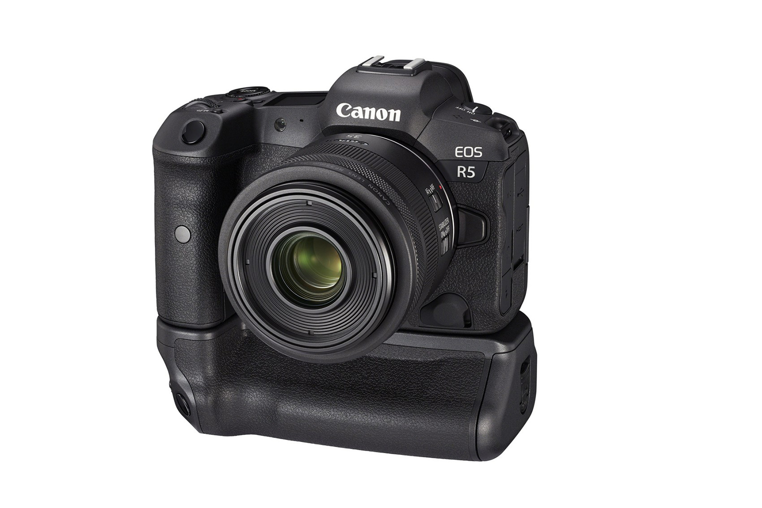 The EOS R5 with its optional grip, part of the Canon launch