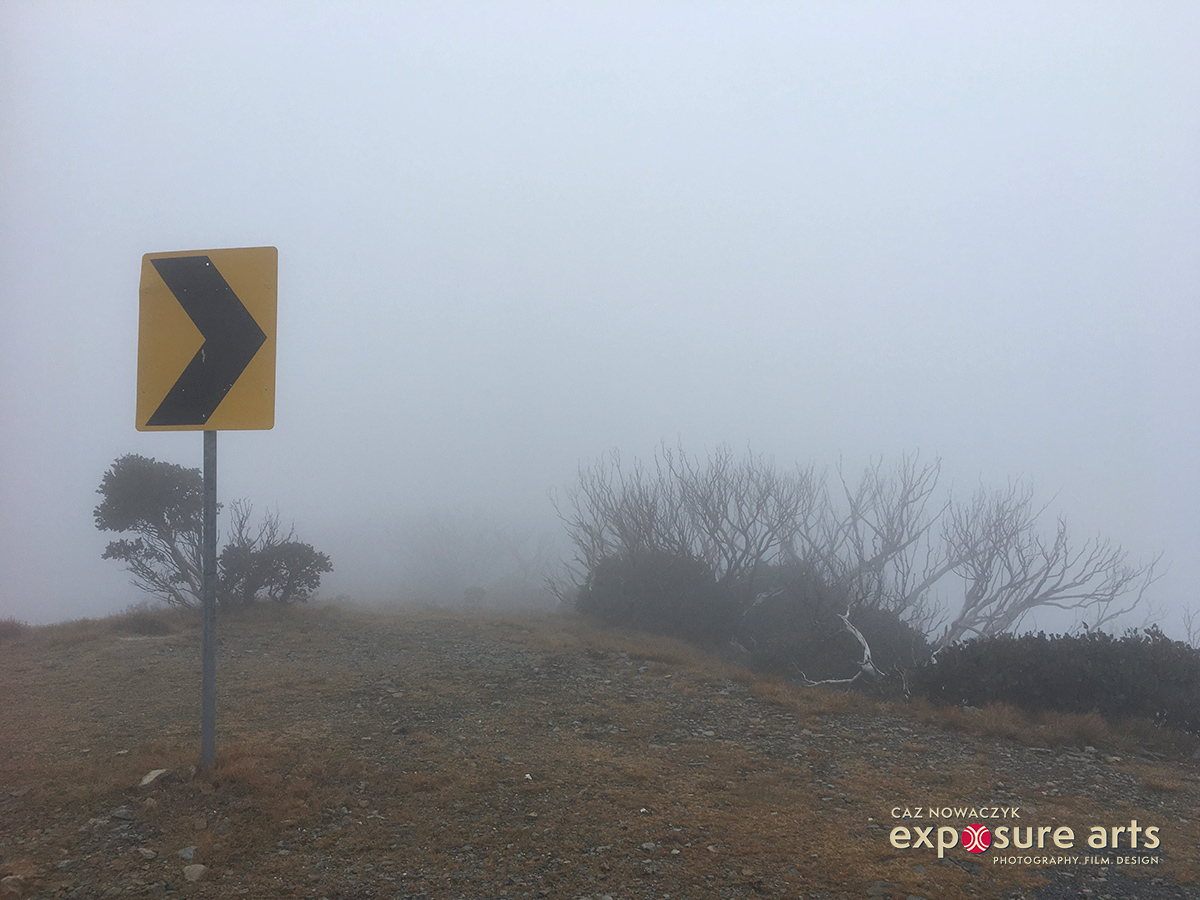 Fog on Mt Hotham, Victoria, Australia by Caz Nowaczyk