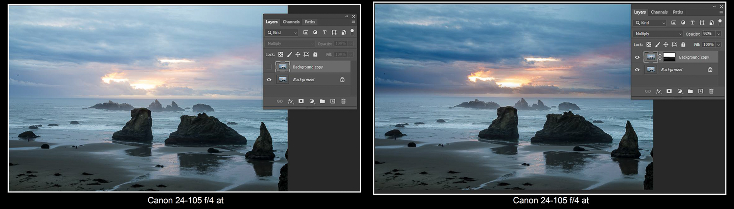 Tips for dramatic skies - Using a multiply blending layer