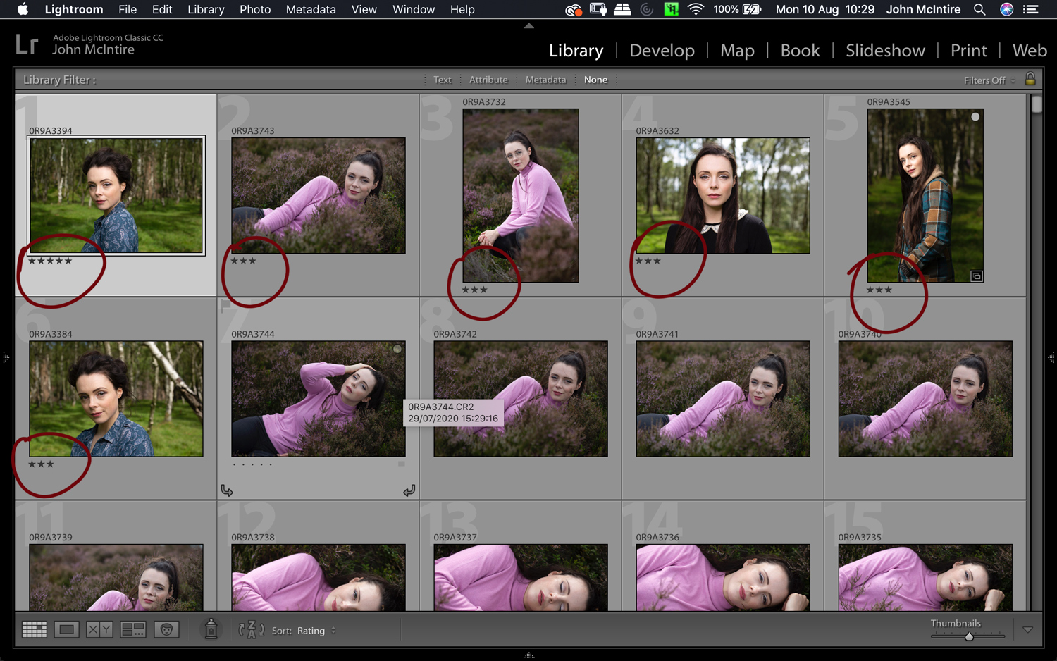 culling images using the Lightroom star ratings
