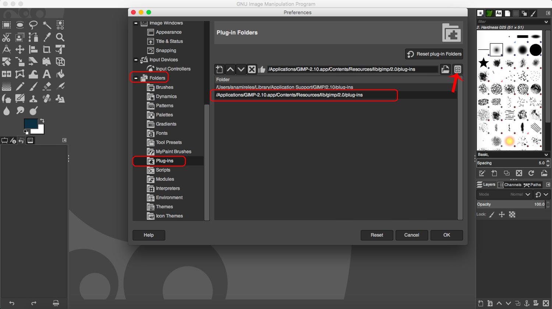 Find the folder for installing GIMP plugins