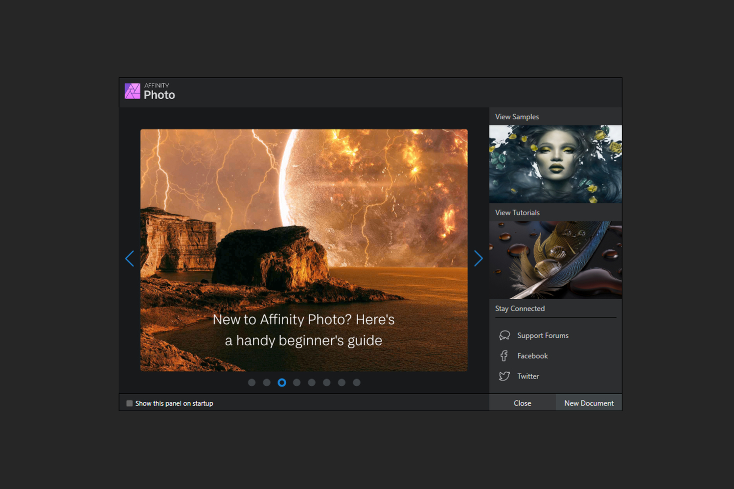 Affinity Photo welcome screen color management in Affinity Photo