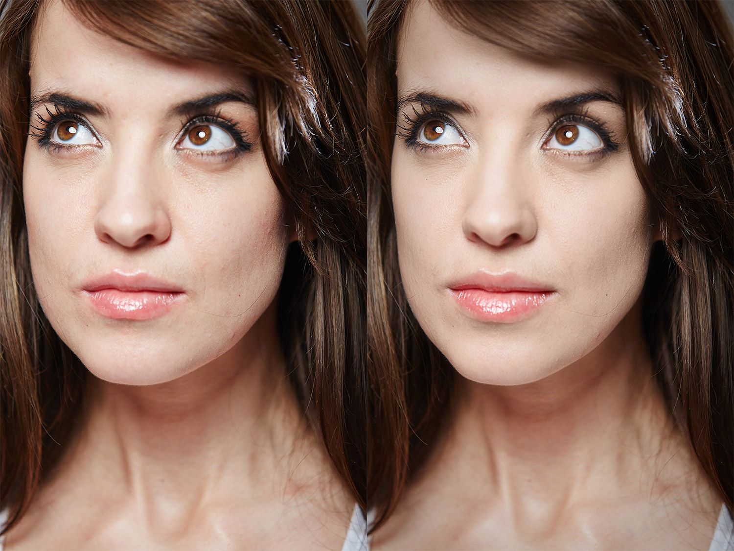 a before and after face sculpt retouch in PhotoDiva